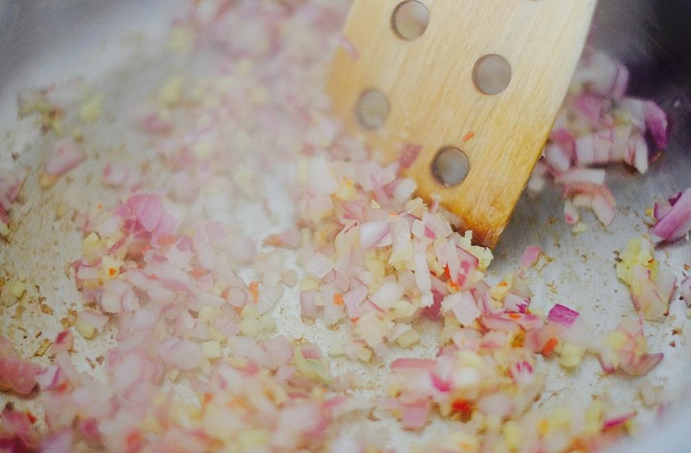 Für den Geschmack Zwiebeln, Ingwer und Chili kurz anbraten