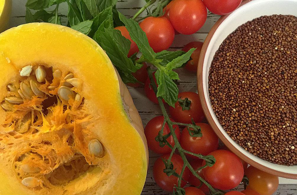 Die Zutaten für unseren Butternut-Kürbis mit Quinoa-Füllung