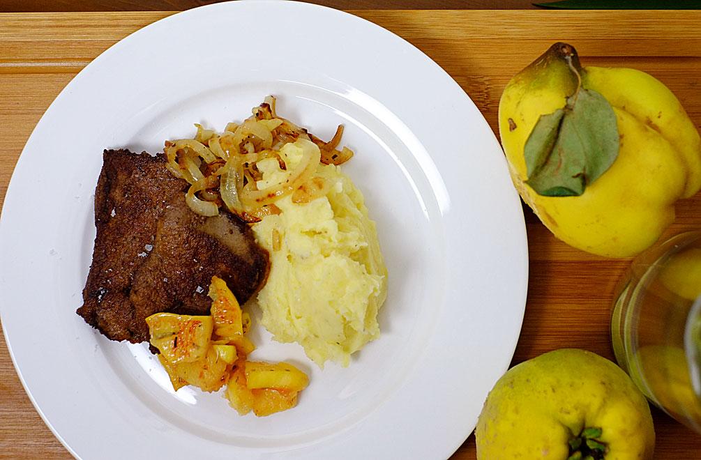 Kalbsleber, Kartoffelpüree und Quitten – für uns ein rundum gelunges Essen